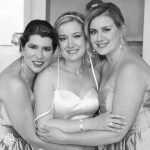A black and white photo of bride with the maids of honour at St. Georges Golf & Country Club Wedding.