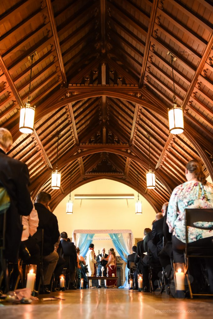 Scottish and Hindu Wedding ceremony under the mandap in the music room at the Hart house in Toronto