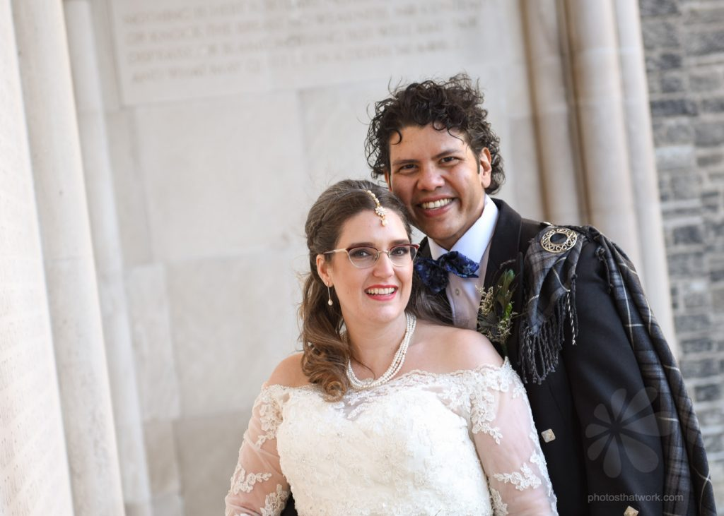 Bride and groom photo at Hart House in Toronto