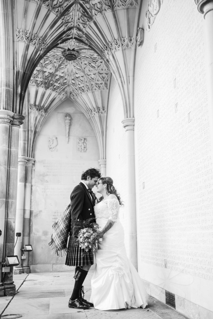 Black and white Bride and groom pic at Hart House in Toronto