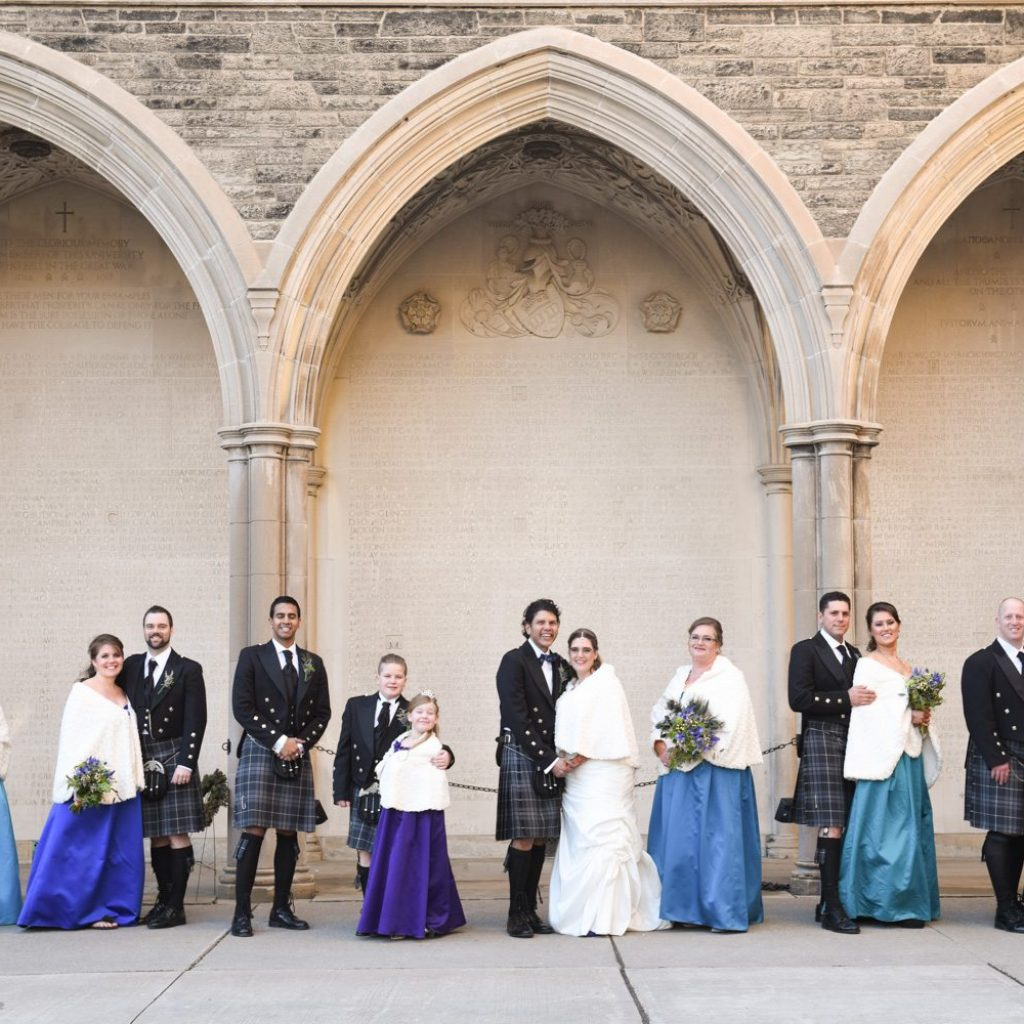 Bridal party group portrait at Hart House in Toronto