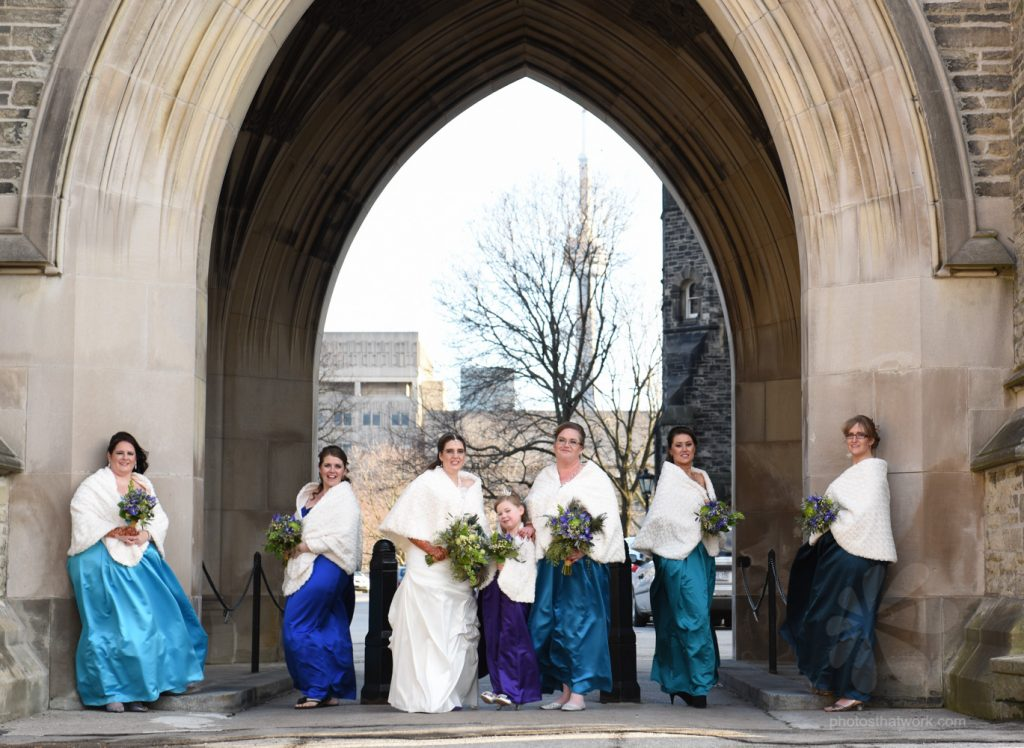Bridal party bridesmaids group portrait at Hart House in Toronto