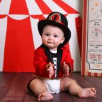 cute baby circus theme birthday photoshoot