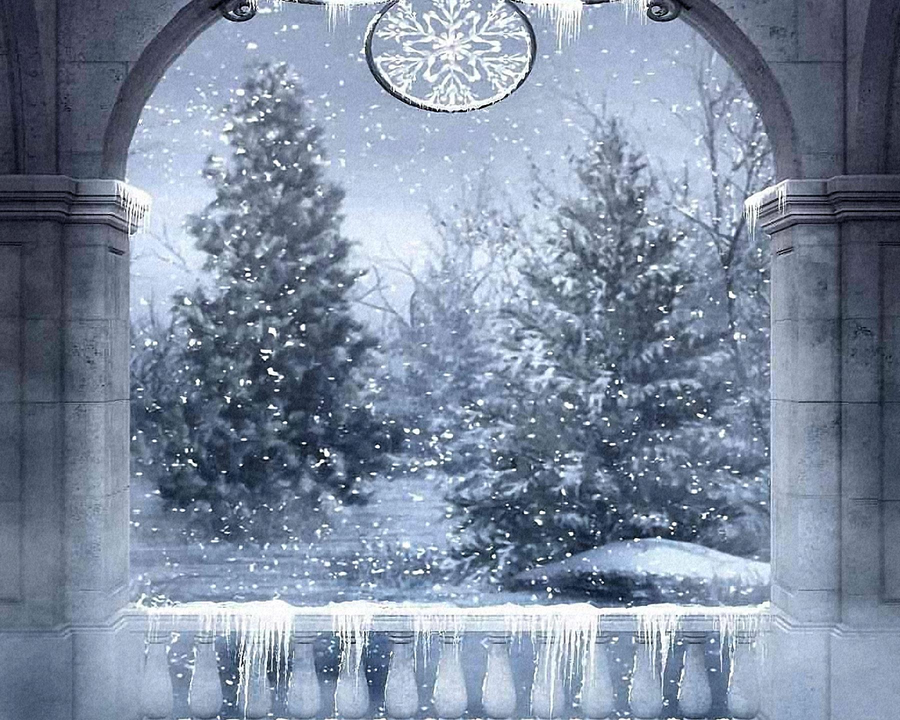 Snowy Arch Christmas Backdrop Rental